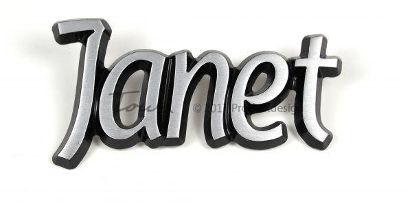 Types de caractères Janet en aluminium